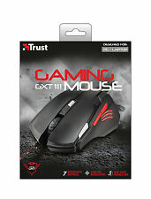 NEW TRUST 21090 GXT111 GAMING MOUSE TO 2500 DPI, 7 BUTTON, ONE CLICK DOUBLE FIRE