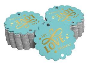 Inkdotpot Let Love Sparkle Wedding Bottle Tag Real Gold Foil Favor-nPT