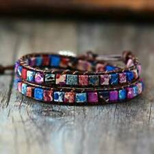 Moon River Natural Stone Leather Wrap Bracelet