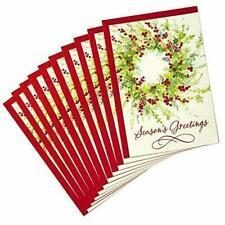 10 Christmas Cards Pack Hallmark Wreath Season's Greetings with 10 Envelopes