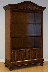 VERY RARE THEODORE ALEXANDER LEATHER OPEN BOOKCASE WITH FAUX BOOKS