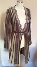 NEW PRINCIPLES BROWN/BEIGE STRIPED LONG CARDIGAN SIZE M