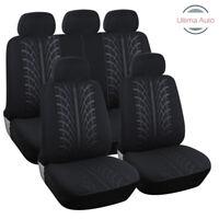 9 Pcs Full Black Color Fabric Car Seat Covers Set Universal Washable