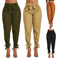 Femme Décontracté Pantalon Nœud  Taille Haute Cordon Élastique Trousers