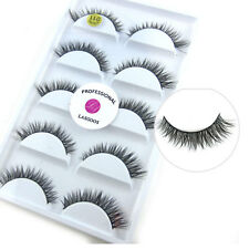 LASGOOS 5 Pairs/Box 100% Real Mink Fur 3D False Eyelashes Short Fake Eye Lashes