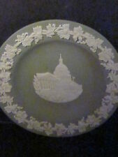 """Wedgwood Green & White Round Dish Us Capitol Building 4 1/4"""""""