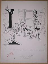 Beau Dessin Ancien Illustration Chien Christian Cruveiller dit UBER c.1960 #4
