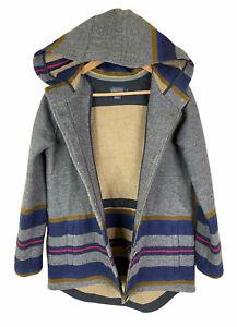 Pendleton Small Zion Striped Anorak 100% Wool Hooded Blanket Coat Grey EUC