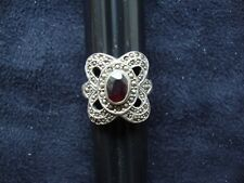 Vintage Garnet w/ Marcasite Accents Stamped 925 Sterling Silver Ring Sz 7