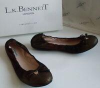 LK BENNETT London Black Multicoloured Ballet Flat Shoes Size EU 39 UK 6 US 8