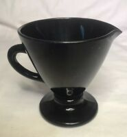 Hazel Atlas  Sterling Black Glass  Creamer Vtg 1930s Retired