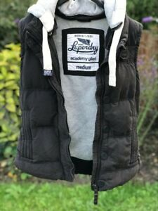 womens SUPERDRY Hooded Padded Gilet Body Warmer Size MEDIUM Charcoal Grey