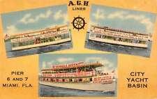 Miami Florida City Yacht Basin AGH Lines Linen Postcard J47263