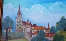 Slobodan Kesic Signed Original Croatian Naive Art Painting 1978 VTG Monastery?