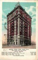 Vintage Postcard - Posted 1930 Hotel York 36Th Street New York NY #4415