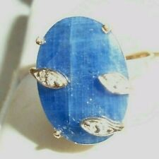 fine 10K yellow gold large blue sapphire diamond  ring size 7