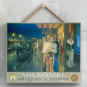 SOUTHPORT FOR A HOLIDAY IN WINTERTIME ORIGINAL NATIONAL RAILWAY POSTER PLAQUE