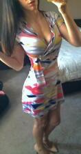 BCBG Low Cut Art Deco Retro Stunning Dress Bright Color Block Print Tea Sun XS/S