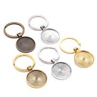 5Pcs Blank Keychain Pendant 25mm Cabochon Base DIY Key Ring Jewelry FindingsmdJC