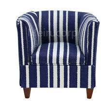 1/12 scale Dollhouse miniature furniture  blue stripes armchair Meeting room