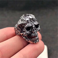 Men's Stainless Steel Silver Cool Gothic Punk Skull Fashion Finger Rings Jewelry