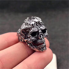 Gothic Men's Stainless Steel Silver Cool Punk Skull Finger Rings Jewelry Size 10