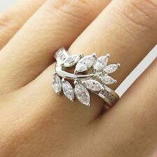 925 Sterling Silver C Z Floral Ring Size 6