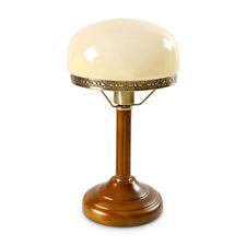 Schreibtischlampe Beige Tischlampe Leuchte Messing-Optik Holz Jugendstil Rund