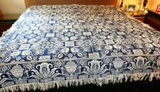 ANTIQUE JACQUARD WOVEN BLUE & CREAM REVERSIBLE COVERLET BIRDS NESTS URNS HOUSES
