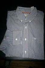 NWT $50 DOCKERS Soft No Wrinkle Long Sleeve Shirt Buttondown-Navy plaid-SMALL