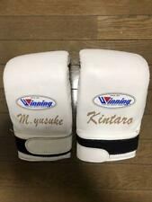 Authentic Winning Boxing Bag Mitts Open Thumb Gloves Tape  White from JAPAN USED
