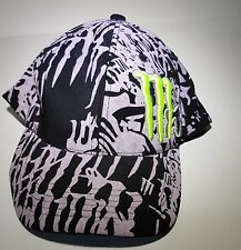Fox Racing / Neon MONSTER ENERGY Cap Flexfit Black & Grey  Gently Worn
