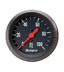 "Sunpro 2"" Mechanical Oil Pressure Gauge 0-100 PSI Black / Black Bezel New CP8216"