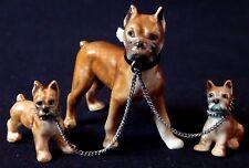 Ensemble miniature chiens boxer porcelaine dogs porcelain