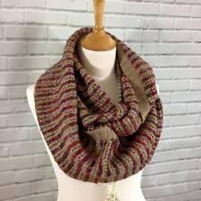 Womens Winter Infinity Loop Snood Scarf Coffee Brown Wine Mix Knitted Look