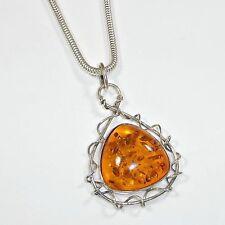 Silpada S0997 Amber Twisted Sterling Silver Pendant Rare .925 Orange