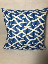 "16"" Square 'Scottish Flag' Cushion Cover in Blue/White Cotton Fabric"