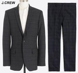 J.CREW suit 36S windowpane grey wool flannel 36 S jacket nr 30 x 32 pants 30x32
