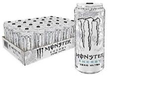 Monster Energy Drinks 24 Pack 500ml Ultra Zero White No Added Sugar)