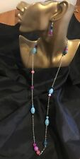 Long Blue And Purple Acrylic Bead Necklace And Er Set Handmade