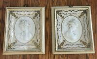 Vtg MCM Pair Turner Wall Accessory East Wind West Wind 3D Framed Female Cameos