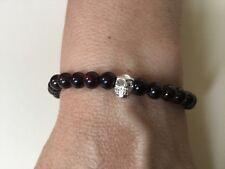 Mens 925 Sterling Silver Skull Garnet Bead braceletj