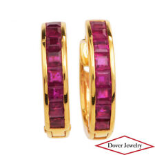 Estate 1.65ct Ruby 18K Yellow Gold Small Huggie Hoop Earrings NR