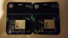 HP 21 BLACK Ink Set of 2 Cartridges OEM sealed pkg C9351AN Exp 2015