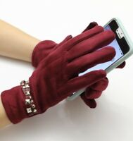USA Women Winter Warm Suede Leather Fleece Lined Touch Screen Driving Gloves