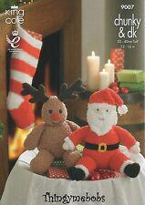 King Cole 9007 Père Noël/rudolph/Stocking Original Knitting Pattern