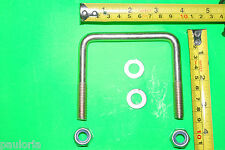 BUY 2: 80 X 46 mm Square U Bolts M10 Mild Steel  with Nuts/Washers 30mm thread