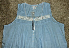 Light Blue Artisan NY Cool Comfortable 100% Cotton Lawn Nightgown Size 2X