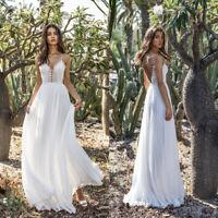 Women's Beach Dress White V-Neck Spaghetti Strap Wedding Party Evening Dresses