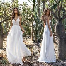 Women Spaghetti Sleeve Backless V-neck Beach Evening Prom Cocktail Wedding Dress